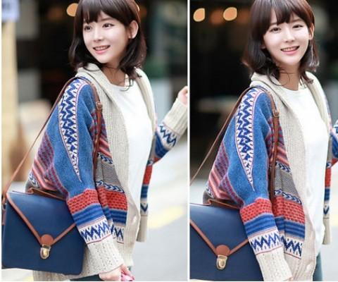 Áo khoác len họa tiết thổ cẩm mang lại nét đẹp tự nhiên cho nàng