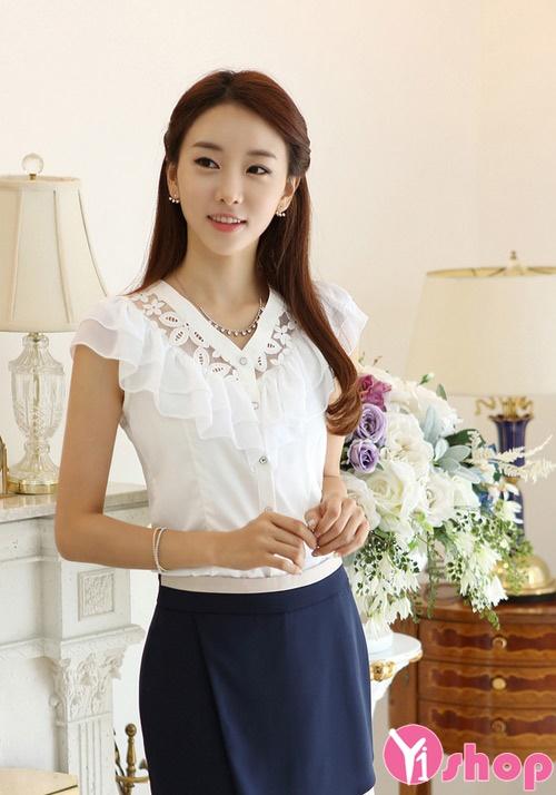 Sơ mi nữ vải voan trắng đẹp dịu dàng cho nàng công sở