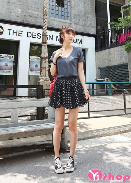 20 chân váy đầm chấm bi ngắn cho nàng năng động