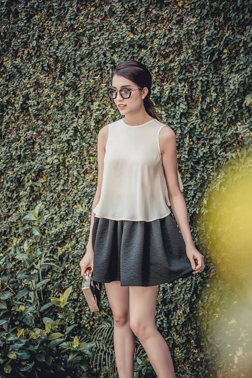Á hậu lệ hằng gợi ý cách chọn váy suông đẹp và tiện ích