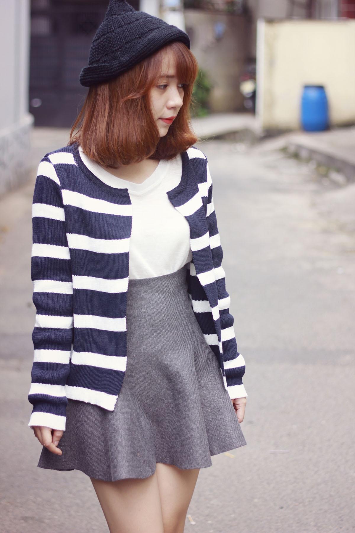 Áo khoác cardigan nữ kẻ sọc đẹp