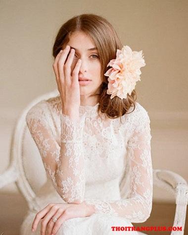 Tóc cô dâu đơn giản dịu dàng cho ngày cưới