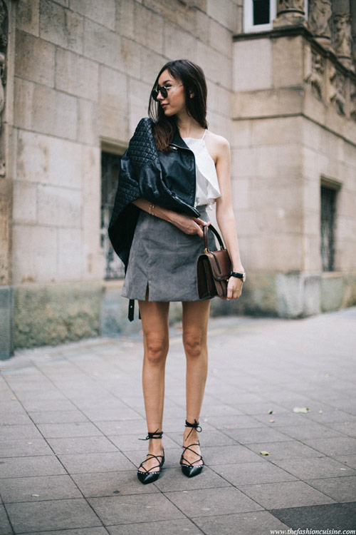 đánh thức mùa thu với chân váy da lộn