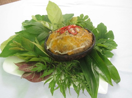 Mắm đùm hấp trong gáo dừa ở miền tây