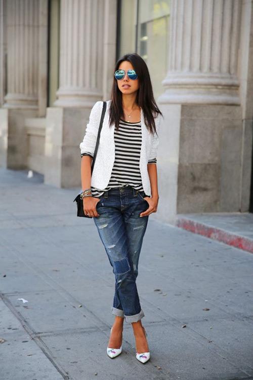 Chân ngắn vẫn mặc jeans thụng làm thế nào cho hợp thời trang